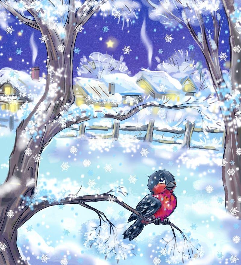 Little bullfinch. Colorful illustration of the bullfinch sitting on the snowy tree vector illustration