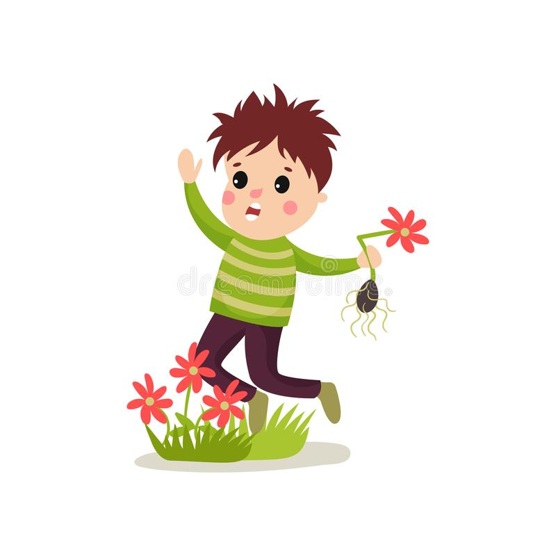 Bully kid flat character jumping on green lawn and treading flowers vector illustration