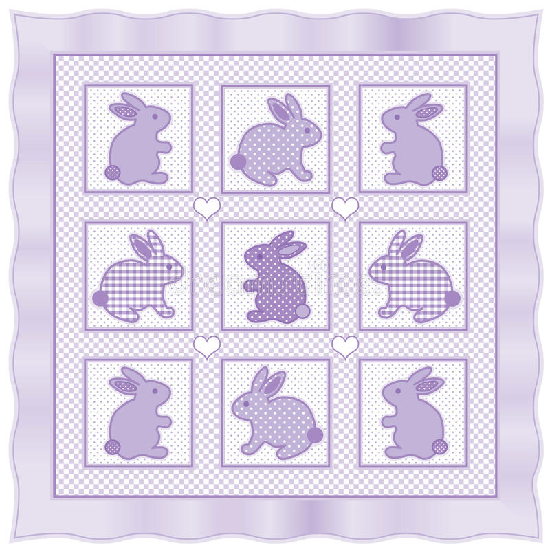 Little Bunnies Quilt. Old fashioned blanket quilt with baby bunnies in pastel lavender checks, polka dots & gingham with satin border royalty free illustration