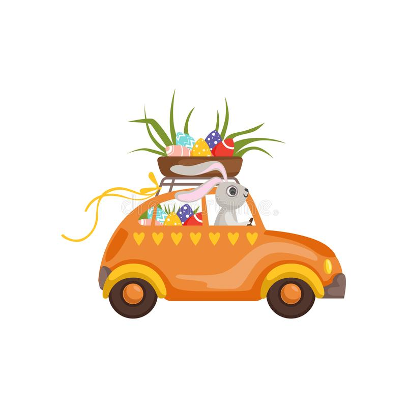 Little bunny driving vintage car with Easter eggs basket, funny rabbit character, Happy Easter concept cartoon vector. Illustration on a white background royalty free illustration
