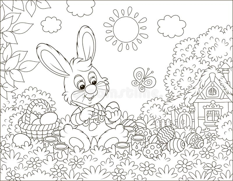 Little Bunny painting Easter eggs. Rabbit making gifts to the holiday on grass among flowers on its front lawn near a small hut with thatched roof on a sunny vector illustration