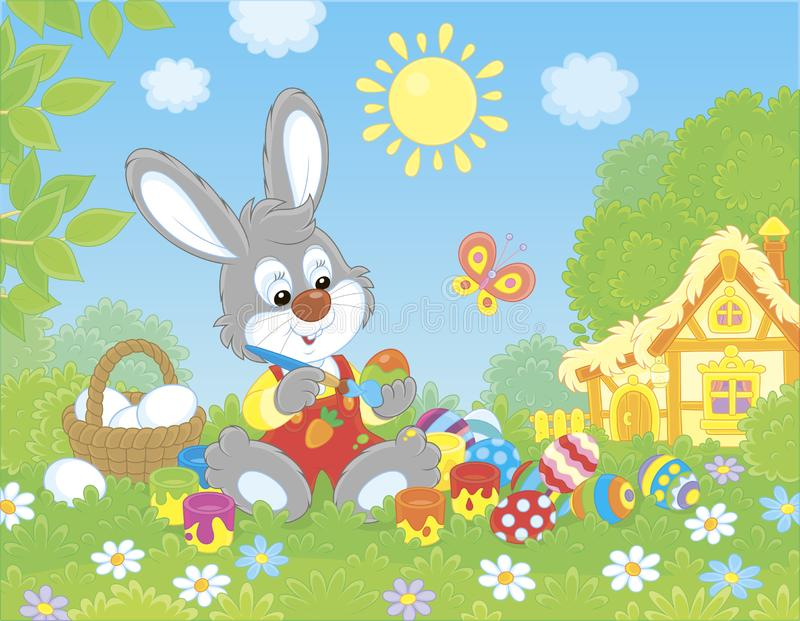 Little Bunny painting Easter eggs. Rabbit making gifts to the holiday on green grass among flowers on its front lawn near a small hut with thatched roof on a vector illustration
