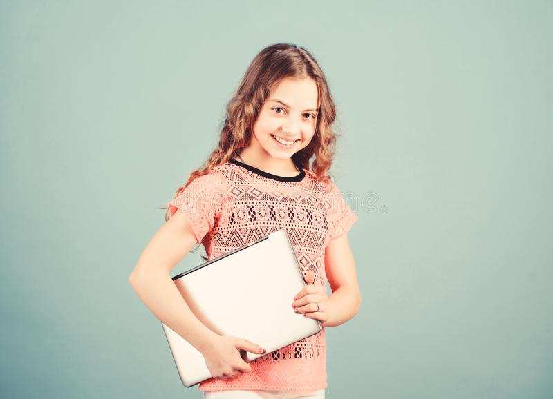 Little business lady. home schooling education. shopping online. school project. startup business. kid development in. Digital age. play computer games. happy royalty free stock images