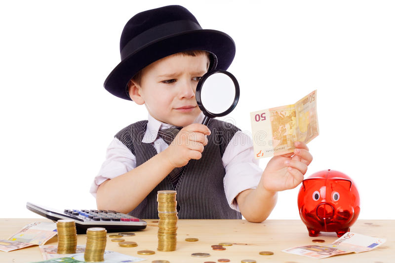 Download Little Businessman Checks The Money Stock Image - Image: 24482919