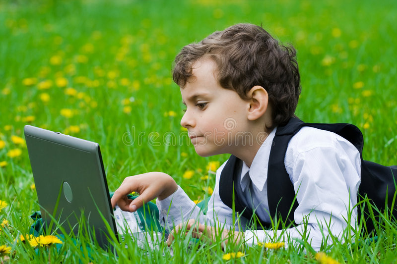Little Businessman Outdoors Royalty Free Stock Images