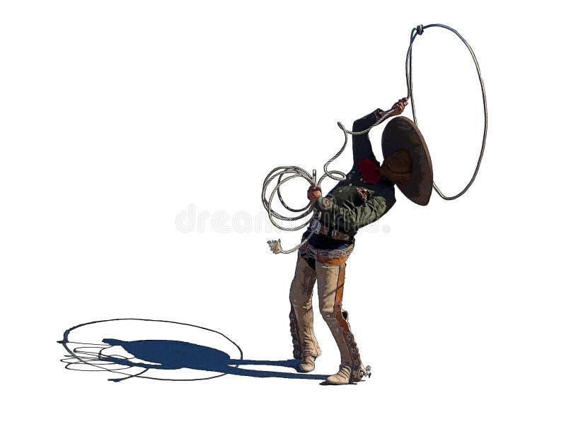 Little cowboy demonstrating roping clipart stock illustration