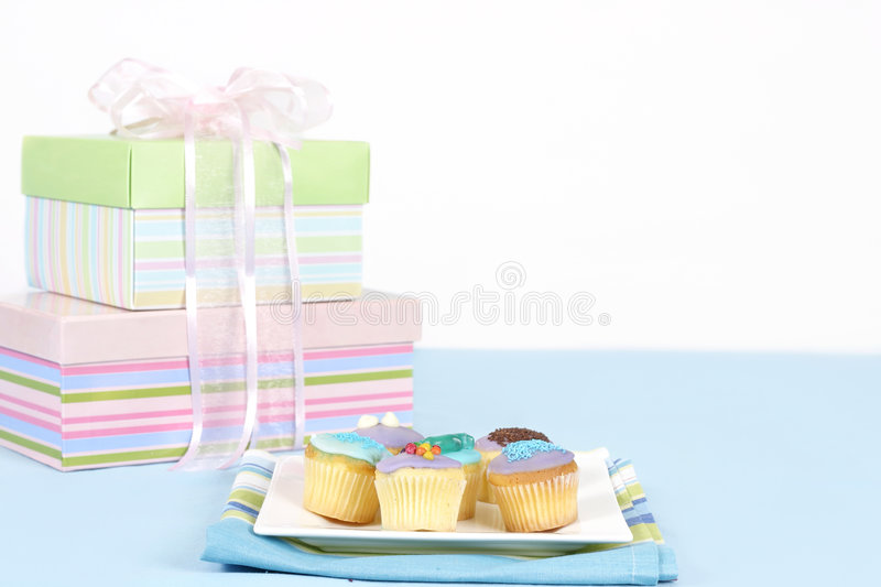 Little cakes sitting on a white plate stock image