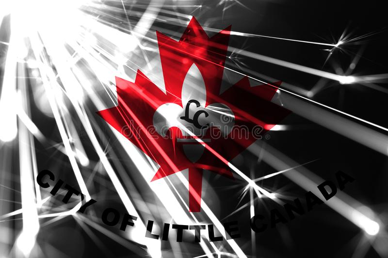 Little Canada, Minnesota shining fireworks sparkling flag. New Year 2019 and Christmas shiny futuristic party concept flags. Little Canada, Minnesota shining stock illustration