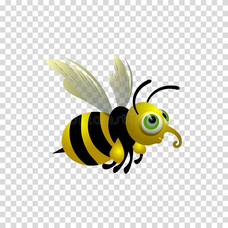 Little  cartoon bee. Character on a transparent background. stock illustration