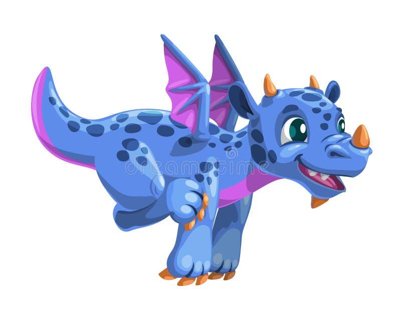 Little cartoon blue flying dragon. Vector friendly fantasy monster illustration. Isolated icon on white royalty free illustration