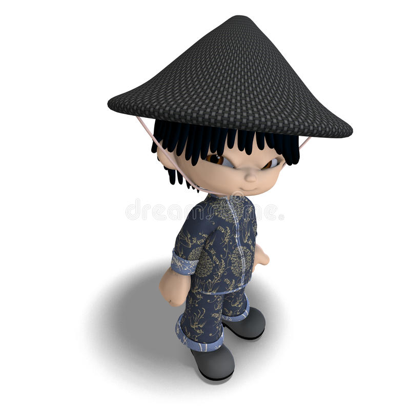 Little cartoon china boy is so cute and funny royalty free illustration