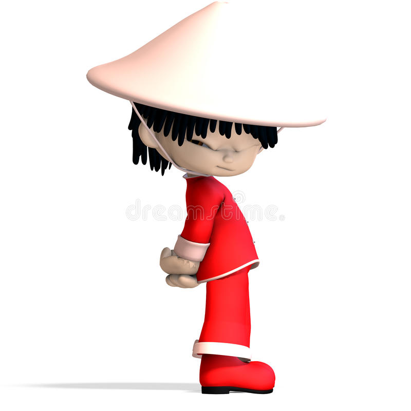 Little cartoon china boy is so cute and funny. 3D vector illustration