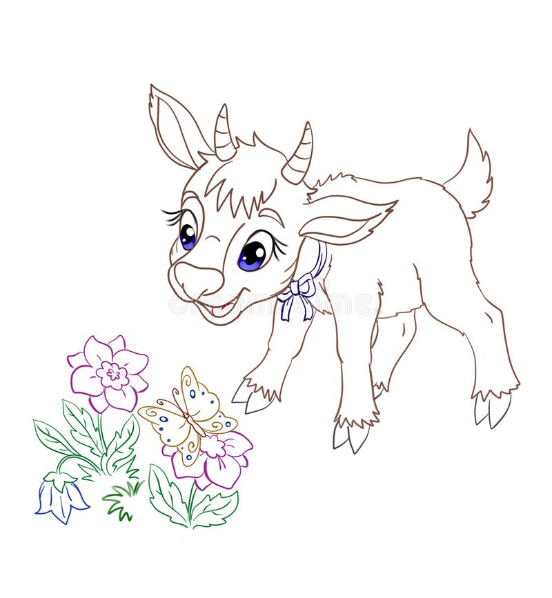 Little cartoon goatling looking at the flowers and butterfly royalty free illustration