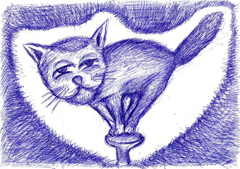 Little cat acrobat dancing on a hobnail  hat. Original drawing stock image