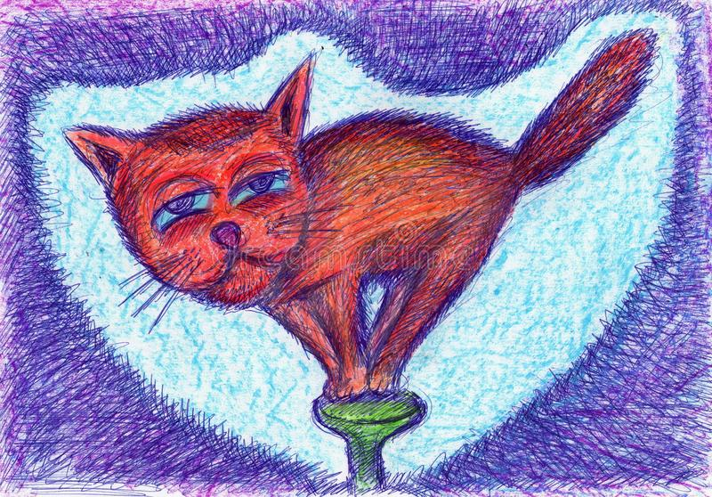 Little cat acrobat dancing on a hobnail  hat. Original drawing stock photography