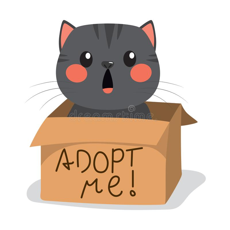 Little Cat Adoption. Cute black little cat with inside cardboard box with adopt me text royalty free illustration