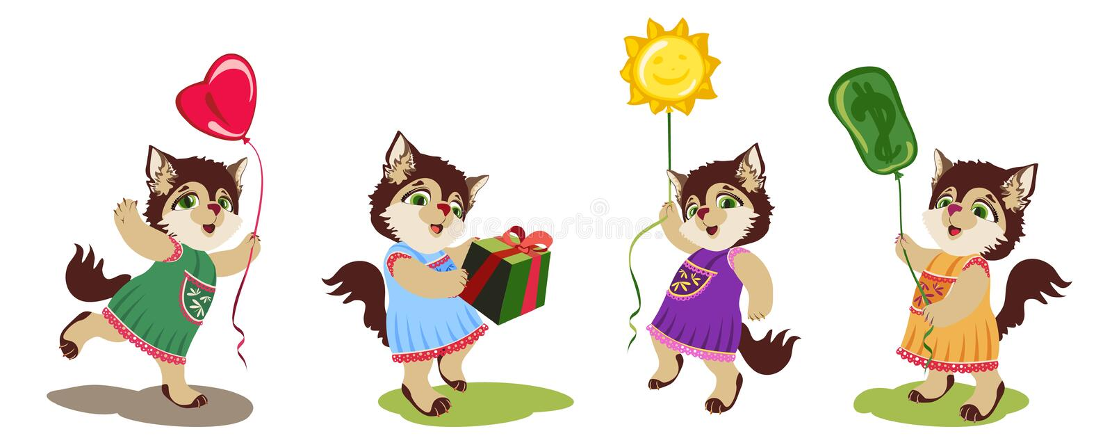 Little cat with the ballons and box vector illustration