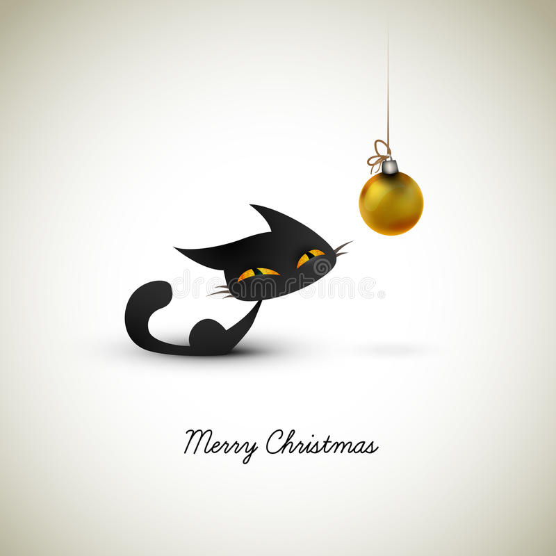 Little Cat Excited About Christmas Globe stock photo
