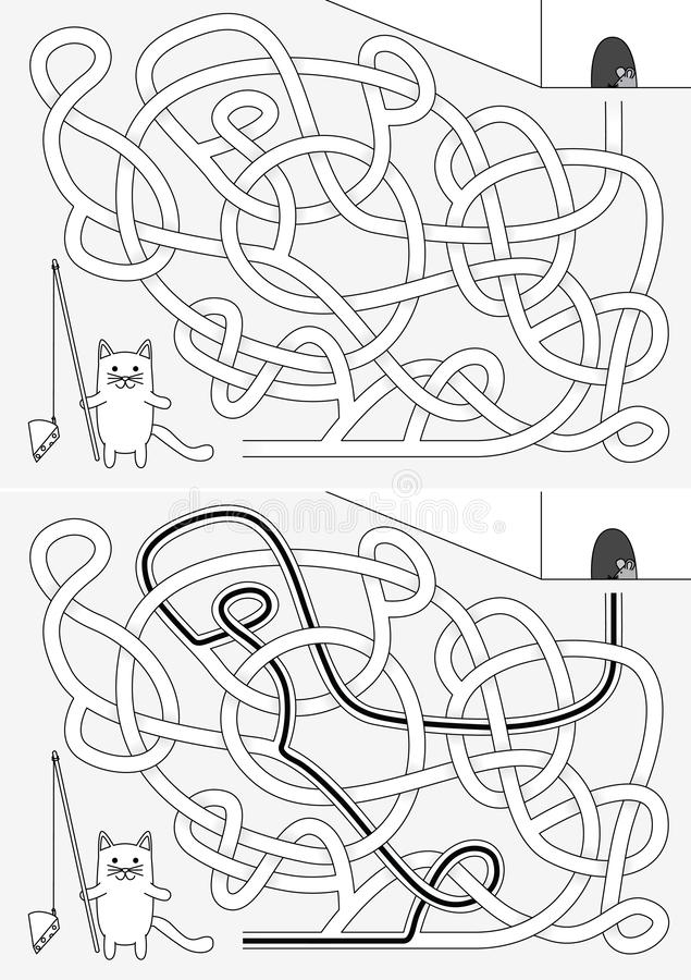 Little cat maze royalty free illustration