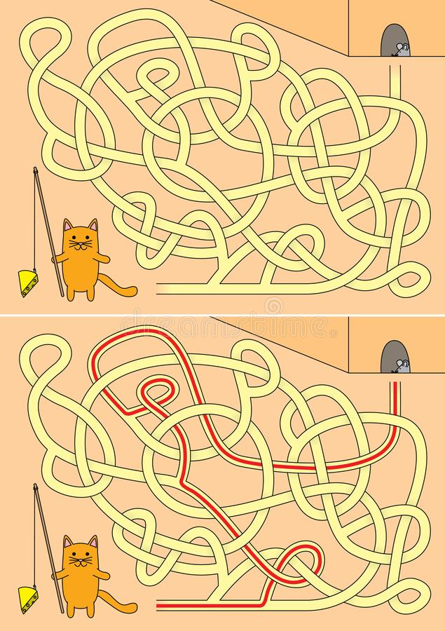 Little cat maze vector illustration