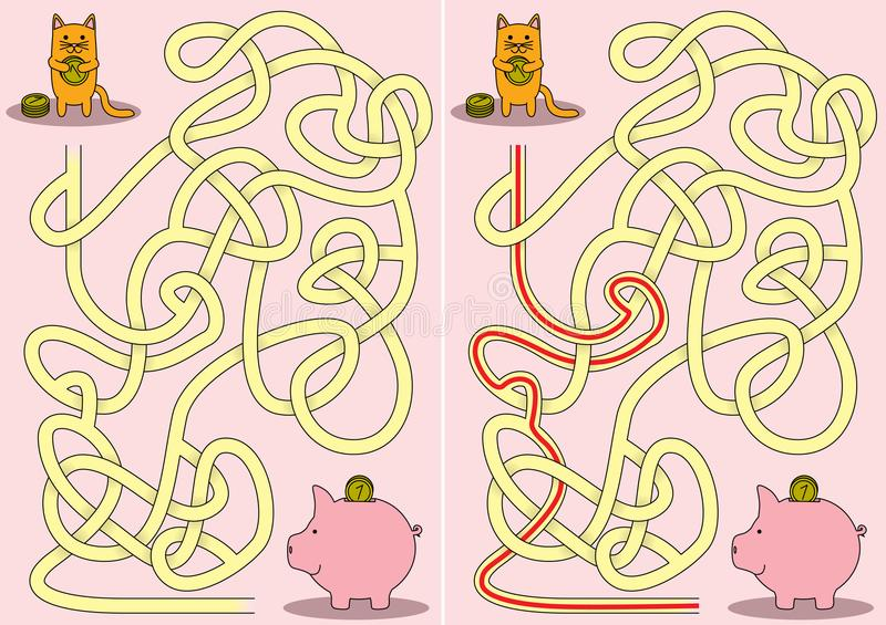 Little cat maze stock illustration
