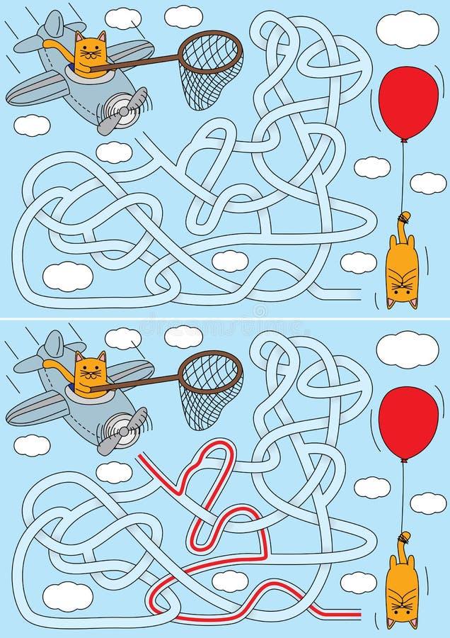 Little cat maze vector illustration