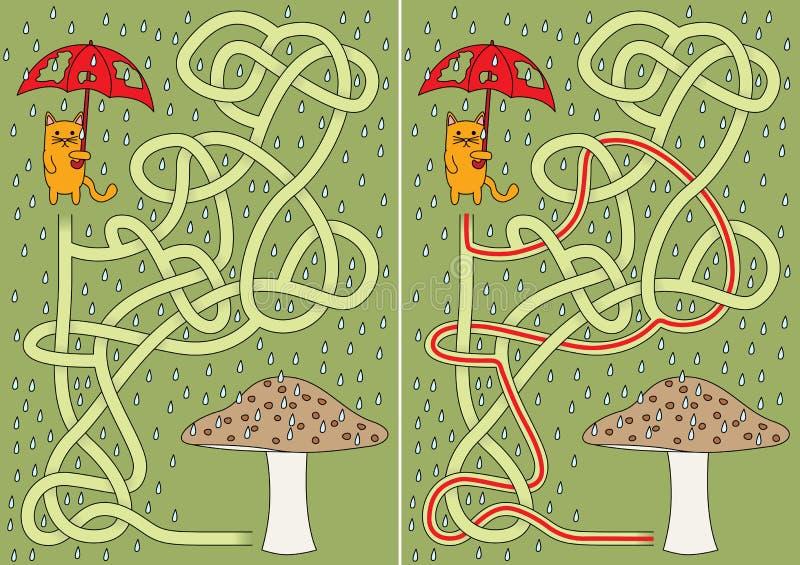 Little cat maze royalty free illustration