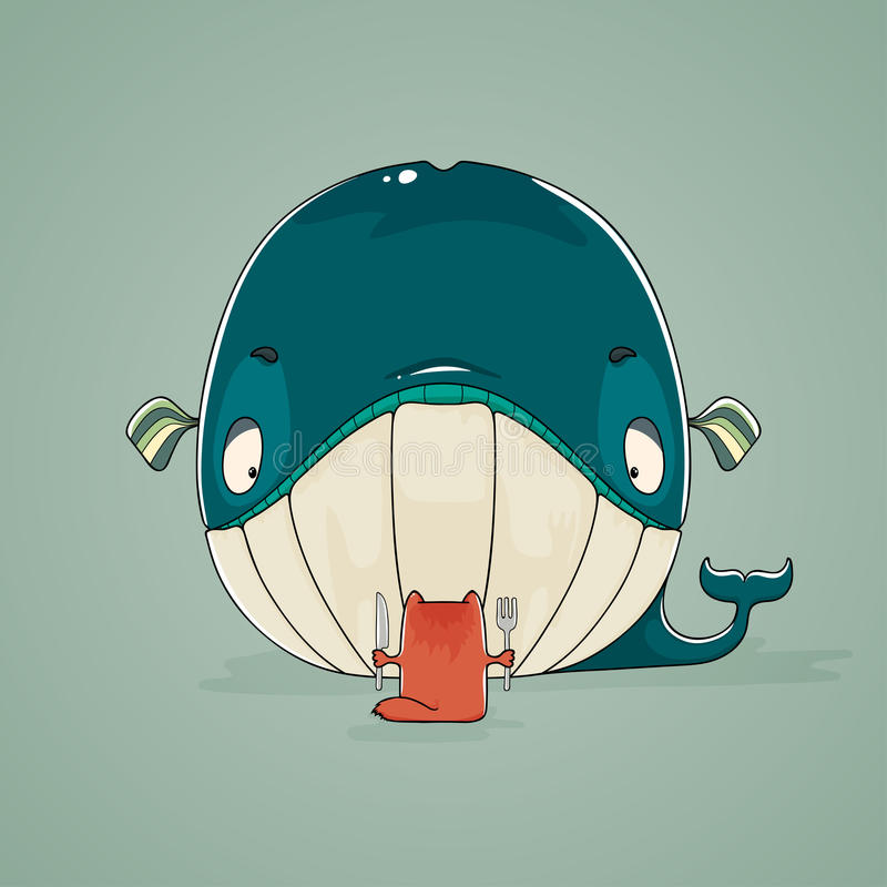 Little cat sitting down to dine on a huge whale. Cartoon illustration of a greedy little cat sitting down to dine on a huge fish dinner of whale holding a knife stock illustration