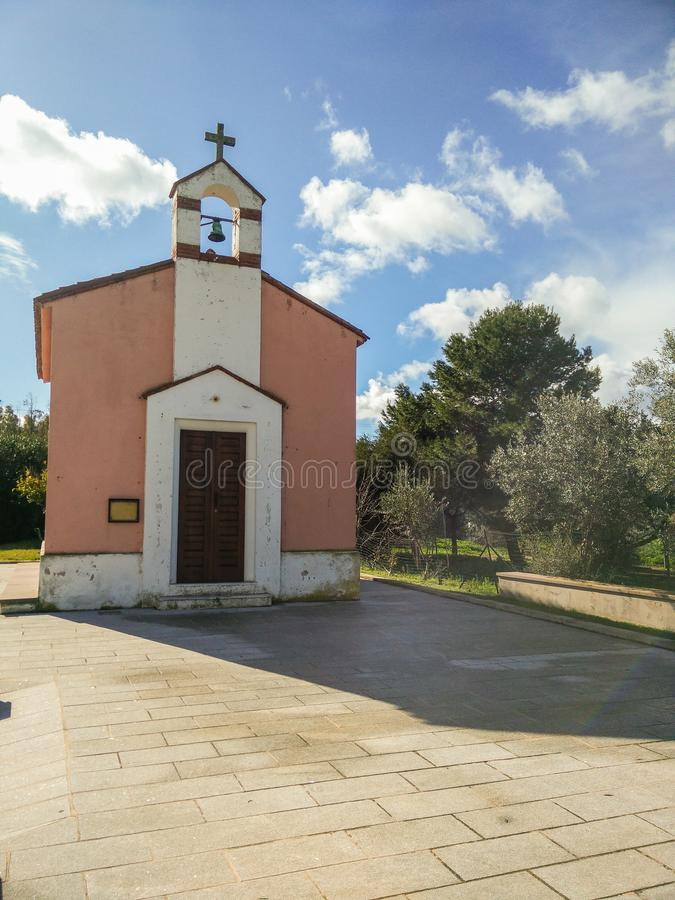 Italy. Faith. Religion. A little catholic rite church dedicated to St Antony in Flumentepido, a small village near Carbonia in South Sardinia royalty free stock photo