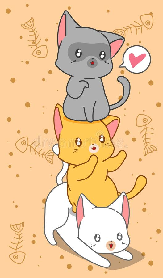 3 little cats in cartoon style. vector illustration
