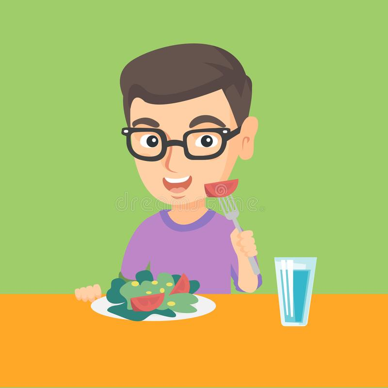 Little caucasian boy eating vegetable salad. Little caucasian boy holding fork with tomato and sitting at the table with plate full of healthy vegetable salad stock illustration