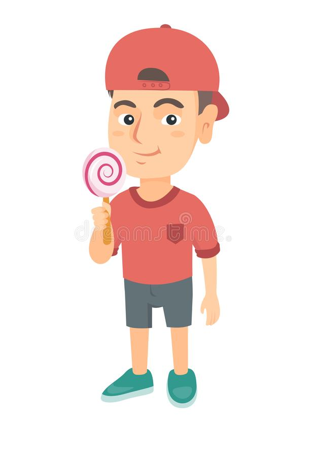 Little caucasian boy holding a lollipop candy. Full length of young boy eating a lollipop candy. Vector sketch cartoon illustration isolated on white royalty free illustration