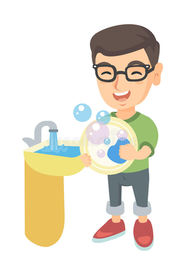 Little caucasian boy washing dishes in the sink. Happy little caucasian boy washing dishes in the sink. Smiling boy doing dishes and having fun with helping his royalty free illustration