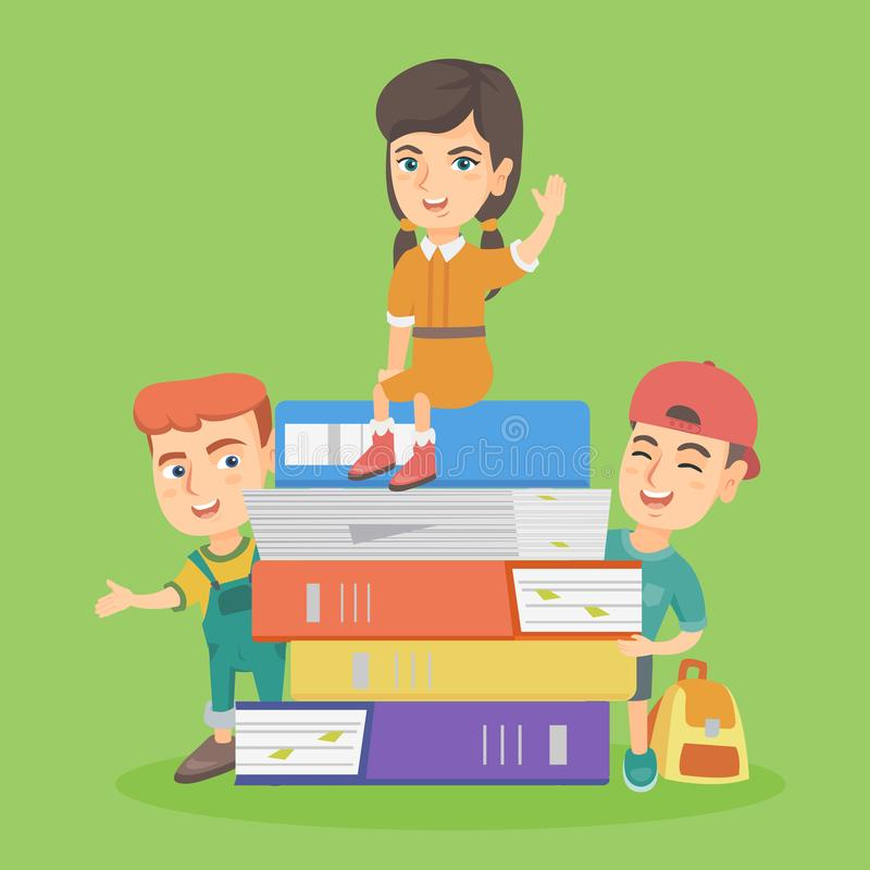 Little caucasian children with the stack of books. Two caucasian boys standing near the stack of books while a little girl sitting on the top of the heap of royalty free illustration