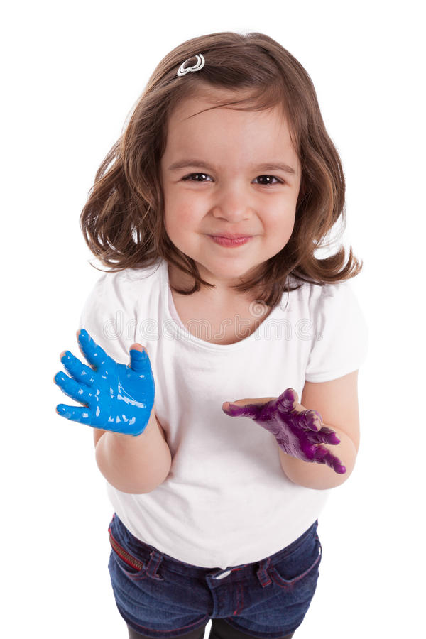 Download Little Caucasian Girl With Hands Painted Stock Photo - Image: 24118840