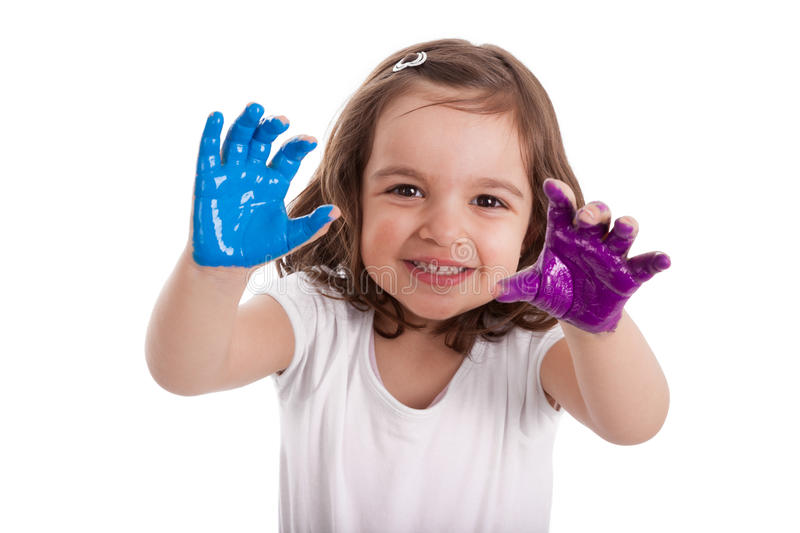 Download Little Caucasian Girl With Hands Painted Stock Image - Image: 24118841