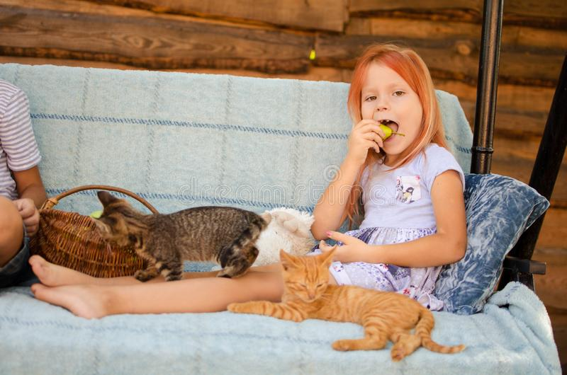 A little caucasian girl of six years old is sitting on a garden swing, playing with kittens and eating green apples. Happy. Carefree childhood in the village royalty free stock photography