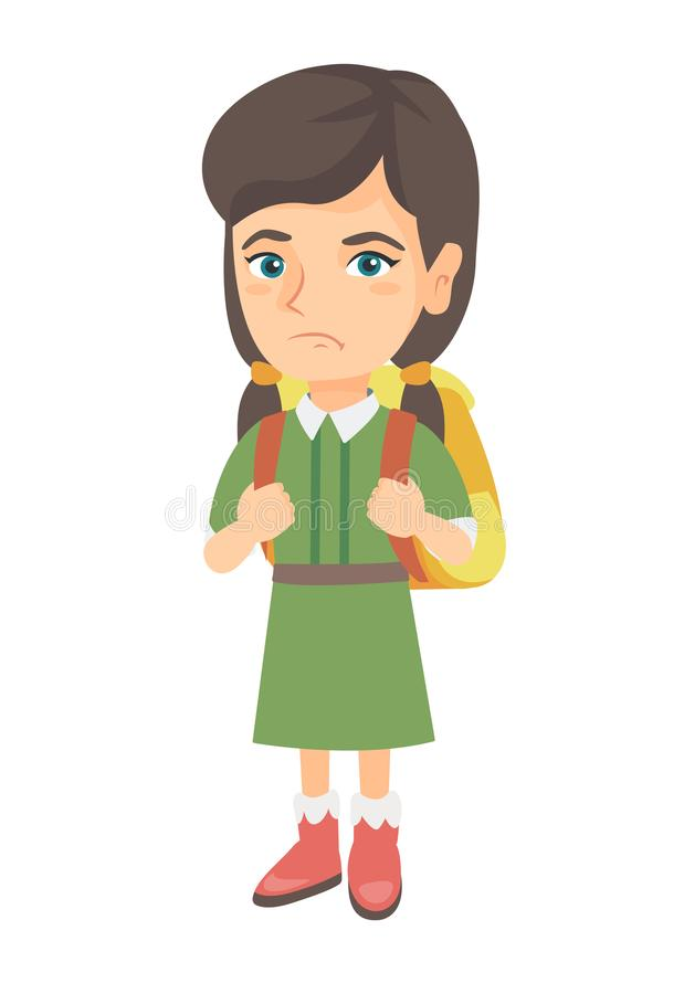 Little caucasian sad schoolgirl carrying backpack. Little caucasian sad schoolgirl carrying a backpack. Full length of upset schoolgirl with backpack. Vector vector illustration