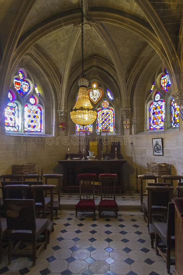 Little chapel in the old castle. Castle Grand Mello, France royalty free stock image