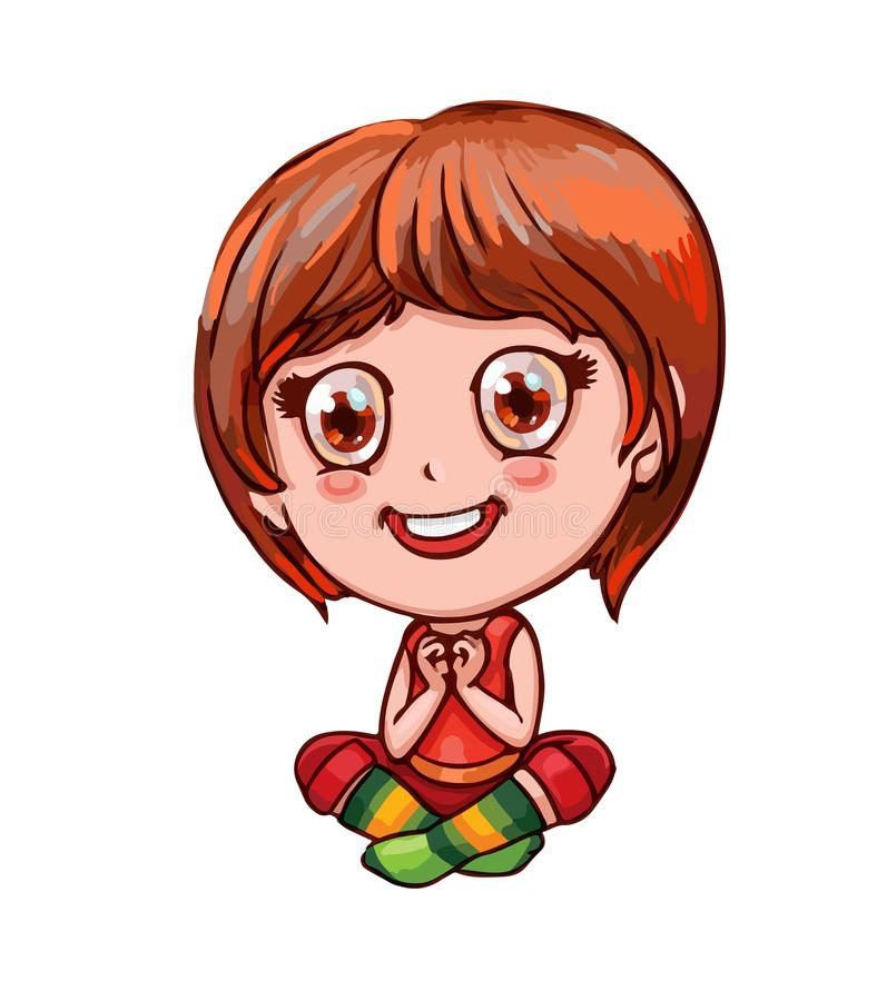 Little cheerful girl, folded hands in the shape of a heart,  sitting in lotus pose in bright socks. Cute cartoon child in anime. Funny little girl sitting and vector illustration