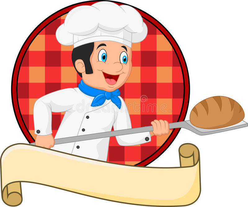 Little chef baker holding bakery peel tool with bread royalty free illustration