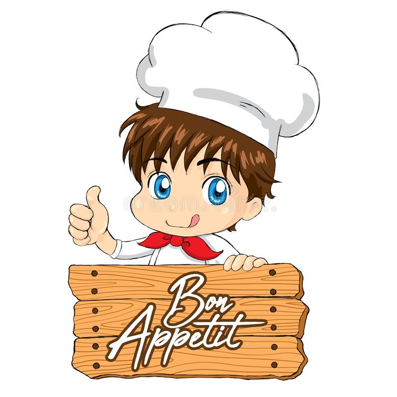 Little Chef - Bon Appetit for mascot packaging menu web. Little Chef - Pizza for mascot packaging menu web. Vector available RGB colors. EPS file is editable in stock illustration