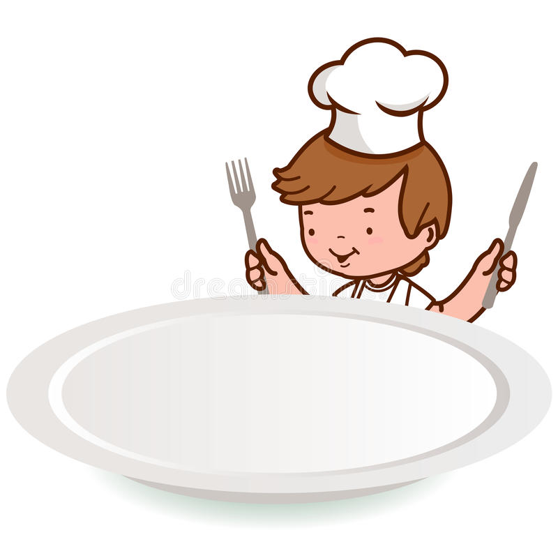 Chef boy looking over an empty plate stock illustration