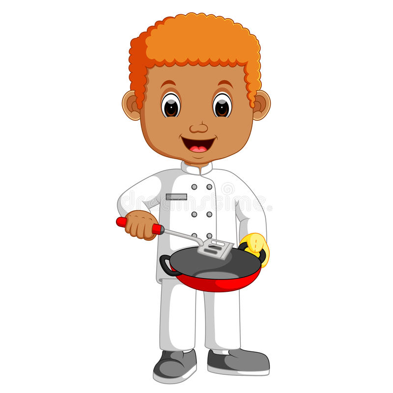 Little chef cartoon with frying pan. Illustration of Little chef cartoon with frying pan vector illustration