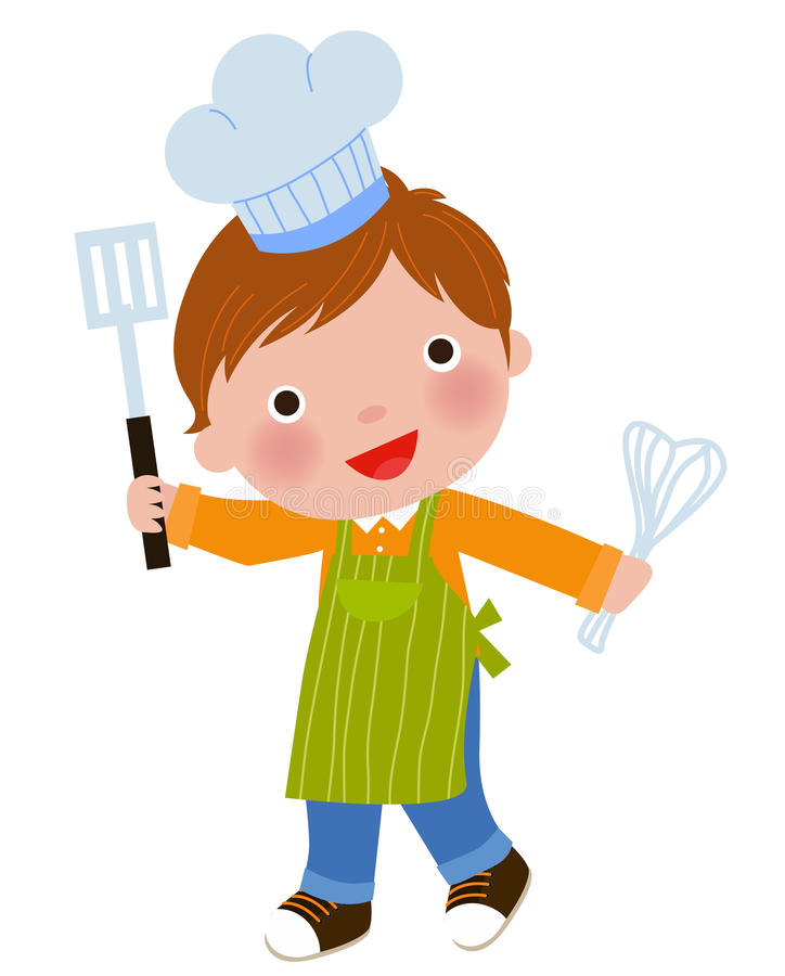 Little chef holding a frying spoon and eggbeater stock illustration
