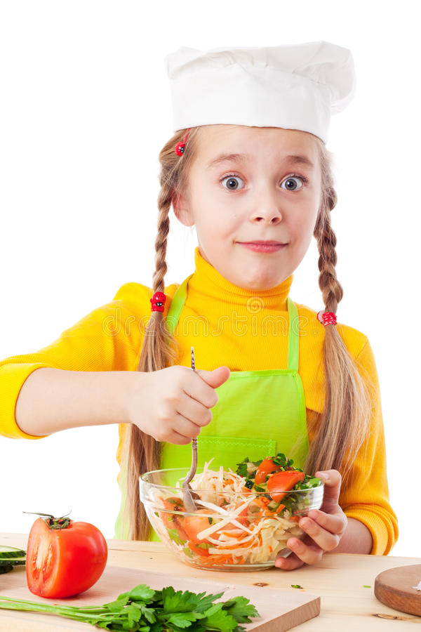 Download Little chef mix the salad stock photo. Image of cuisine - 22739810