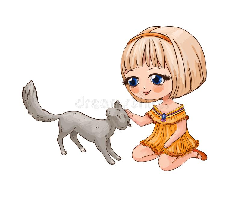Little chibi girl stroking a cat. Cute anime illustration suitab. Le for print on children`s schoolbag, pencil case or T-shirt. Funny character for sticker or stock illustration