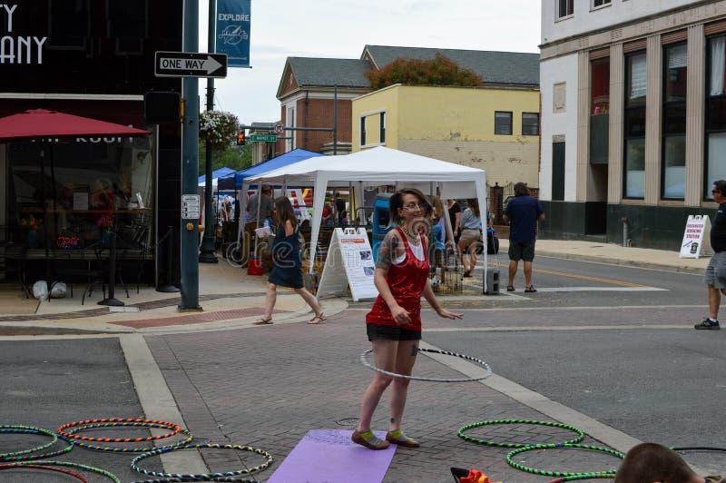 Little Chicago Festival - The Hoop Dancer. Johnson City, Tennessee United States 08-11-2017 Little Chicago Festival - The Hoop Dancer stock photography
