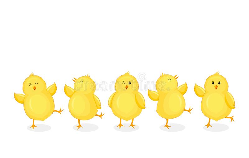 Little chicks cartoon set. Funny yellow chickens in different poses. vector illustration