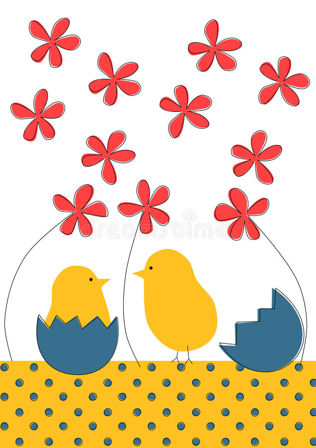 Little chicks Easter greeting card. Invitation or greeting card with little chicks with shells and flowers royalty free illustration